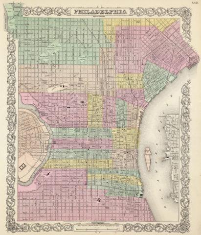 1856 City Map of Philadelphia