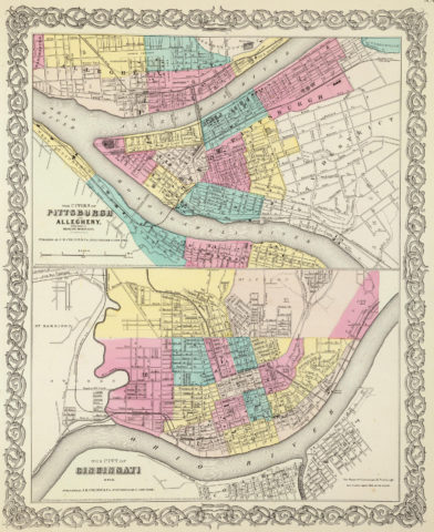 1856 City Map of Pittsburgh and Allegheny PA with parts of adjacent boroughs with the City of Cincinnati OH