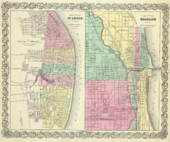 1856 City Map of St Louis MO with City of Chicago IL