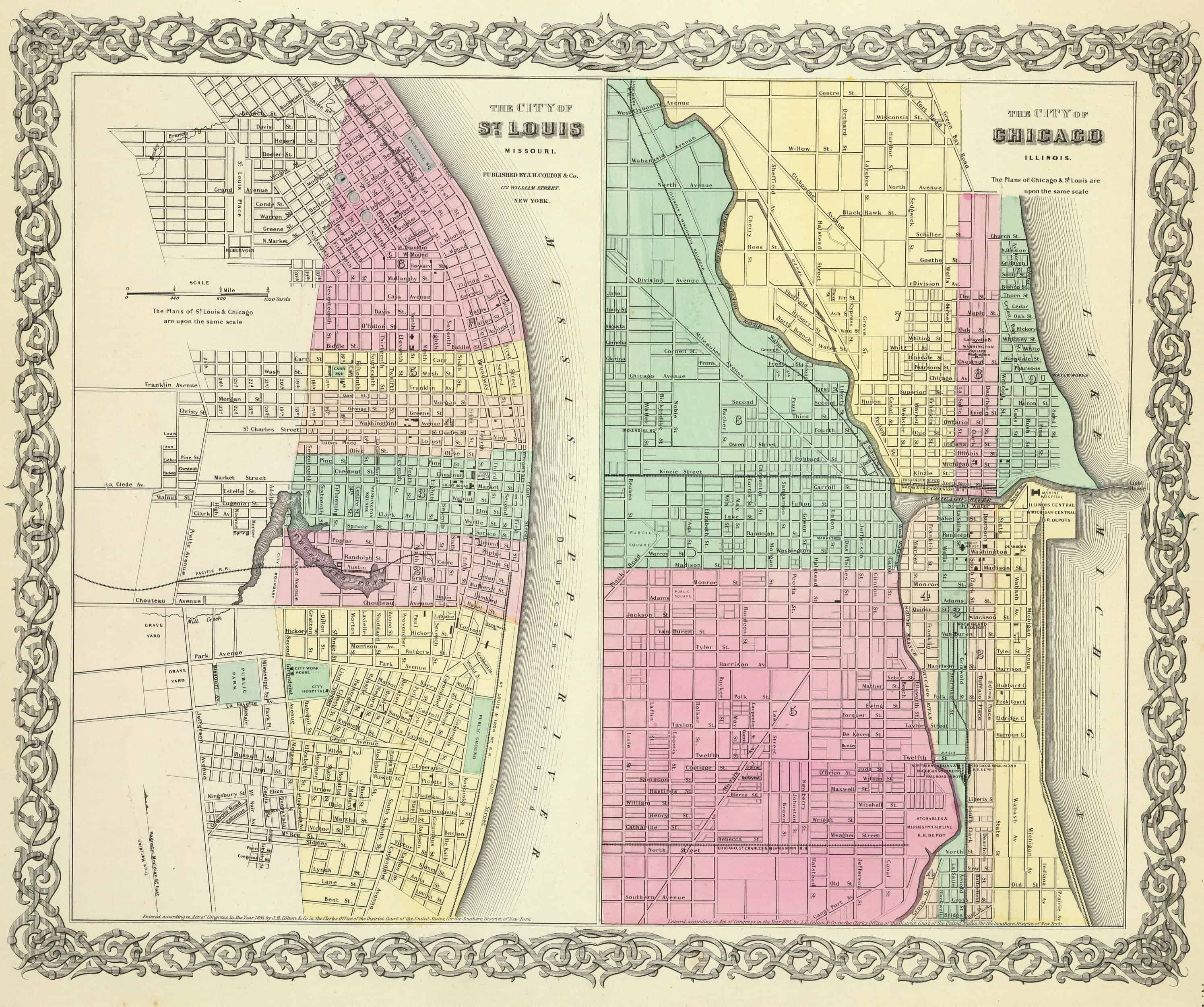 1861 IL MAP McDONOUGH McHENRY McLEAN MACON MACOUPIN MADISON MARION COUNTY huge