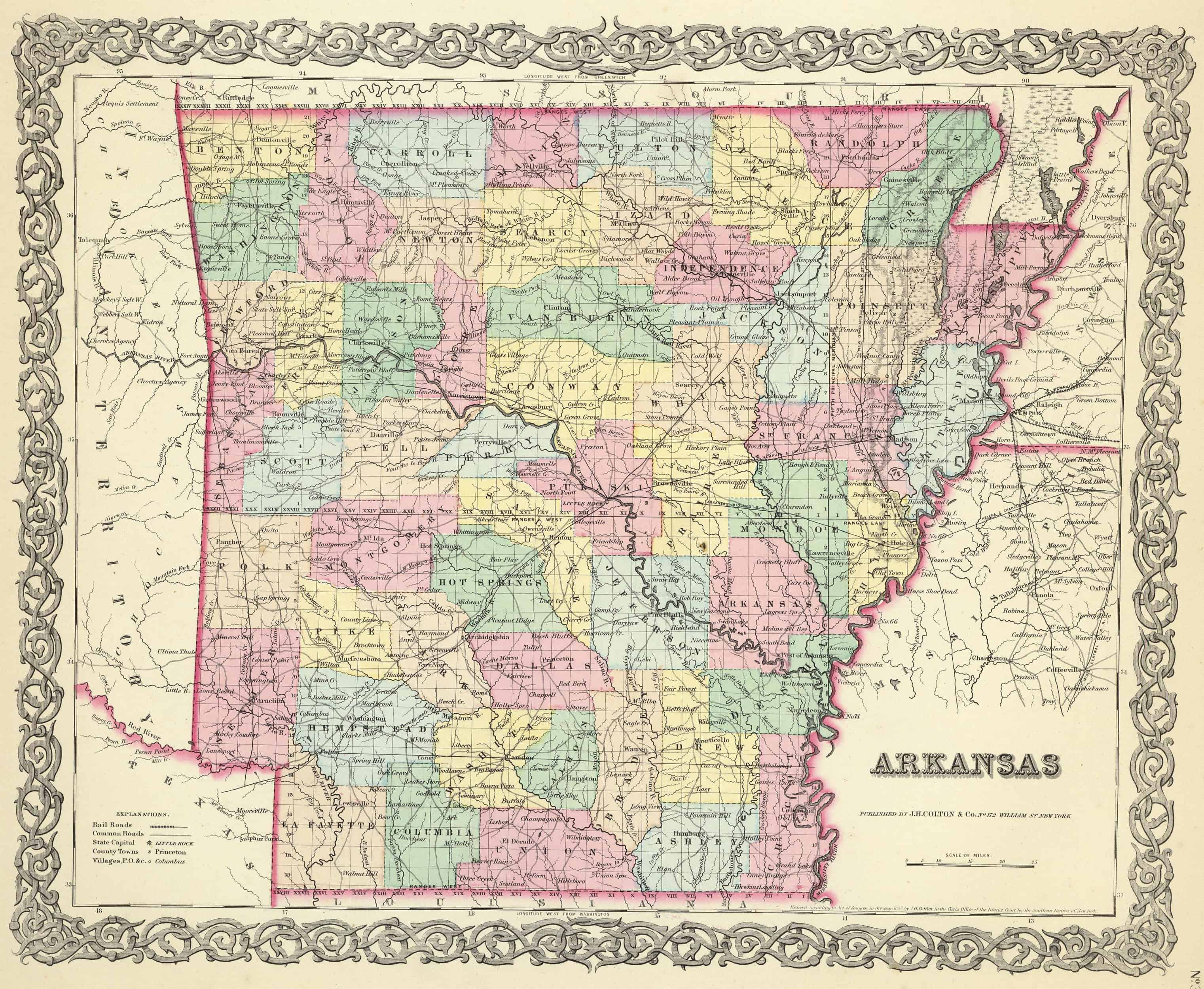 Old Historical City, County and State Maps of Arkansas