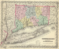 1856 State Map of Connecticut With Portions Of New York and Rhode Island