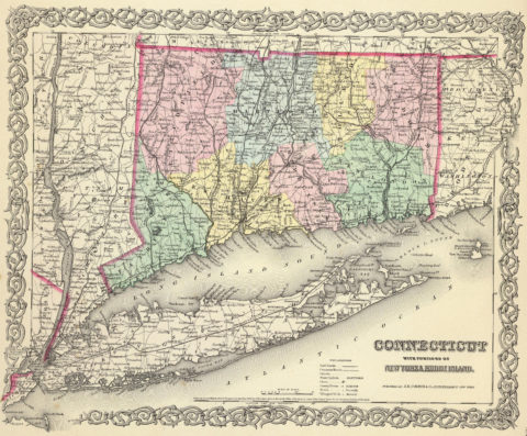 1856 Map of Connecticut With Portions Of New York and Rhode Island