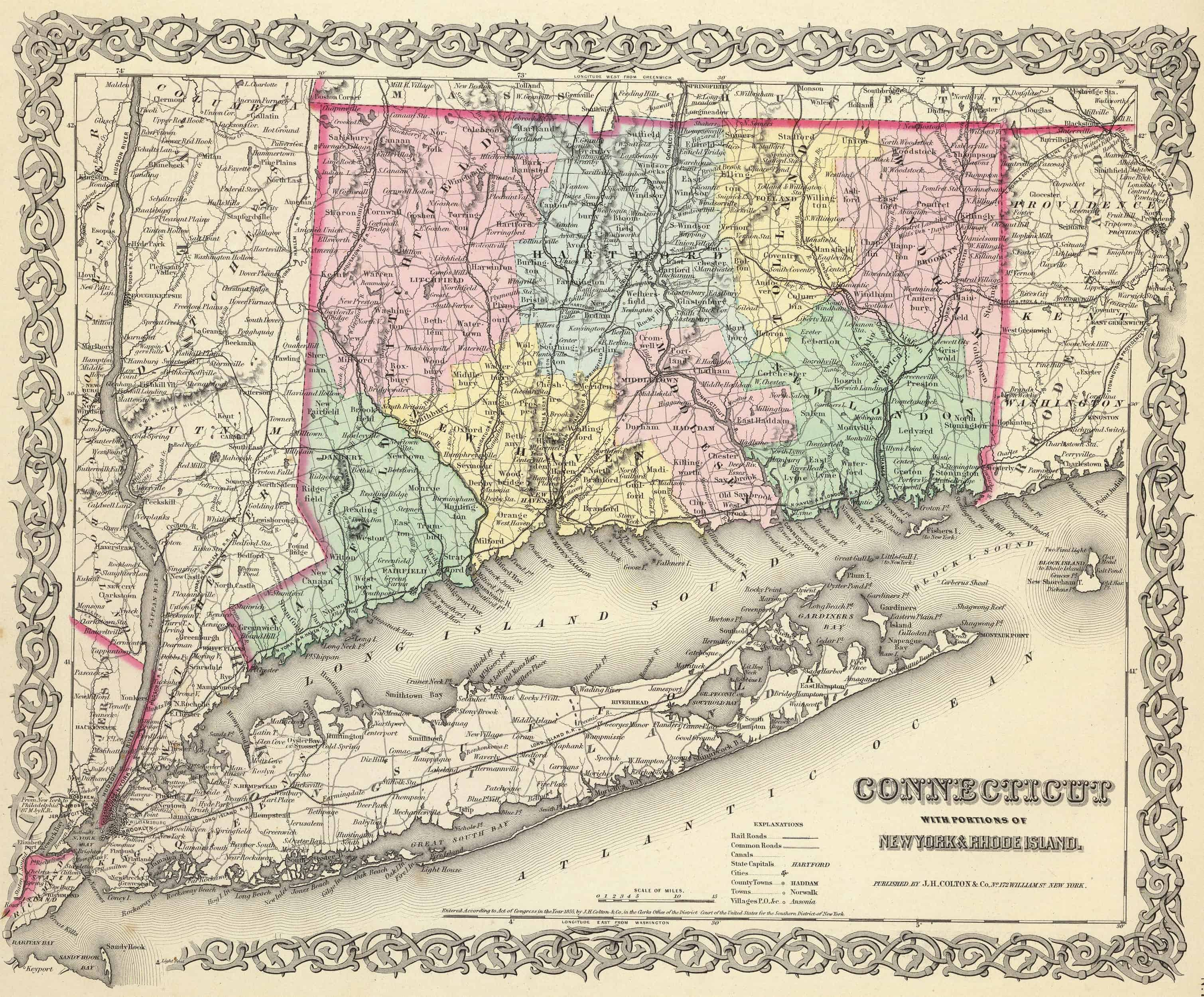 Old Historical City, County and State Maps of Connecticut