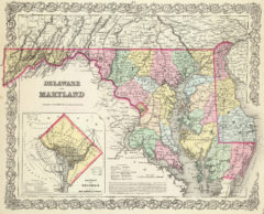 1856 Map of Maryland and Delaware with District of Columbia