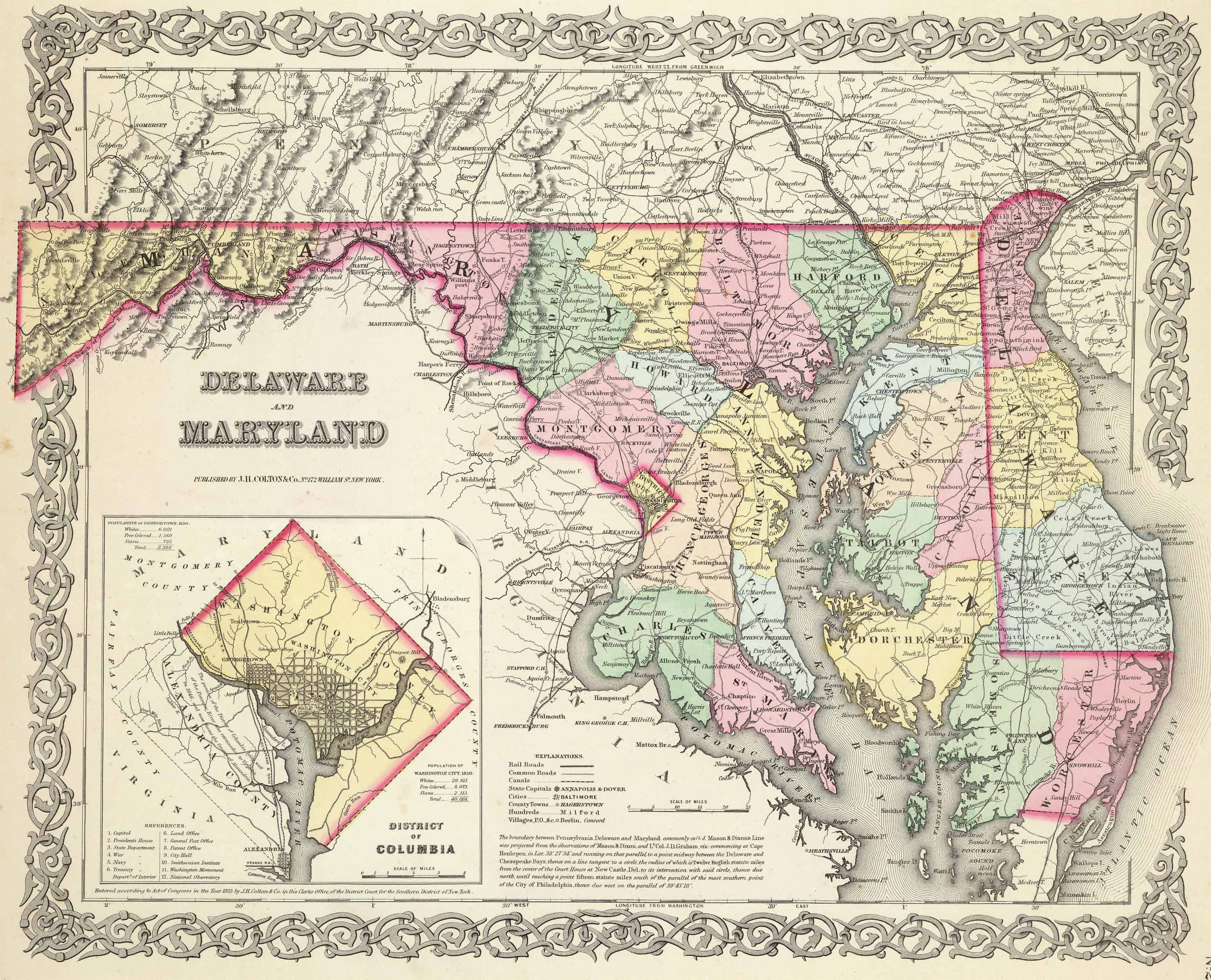 Old Historical City, County and State Maps of Maryland