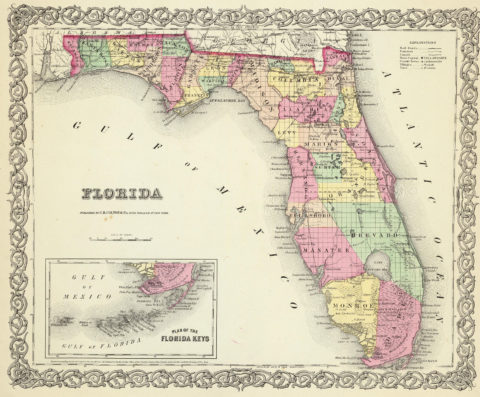 1856 Map of Florida with Plan of the Florida Keys