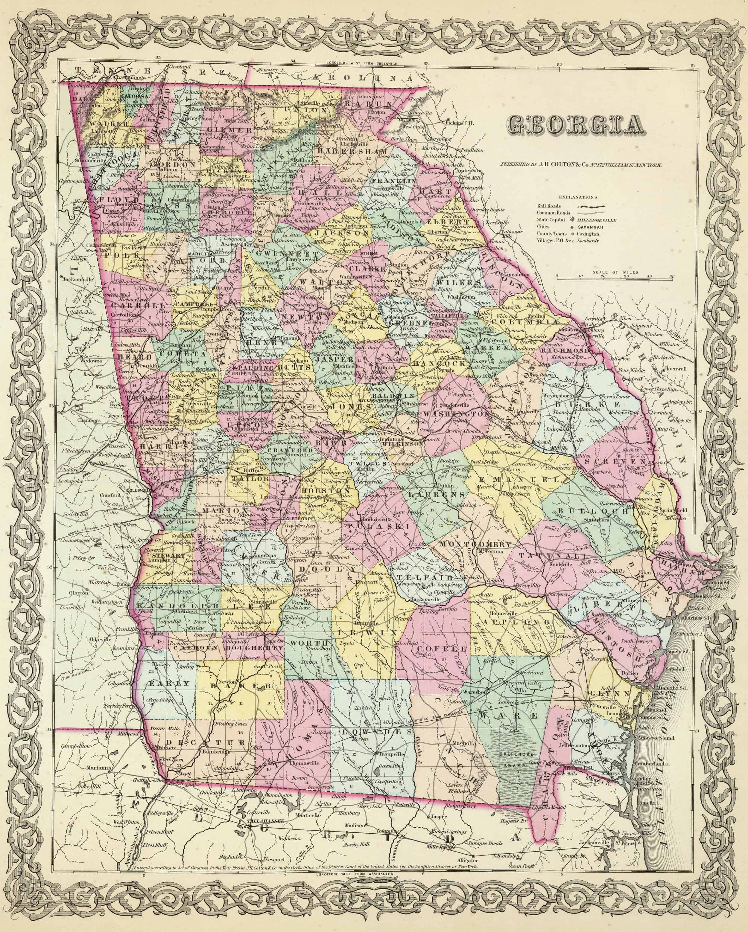 Old Historical City, County and State Maps of Georgia on ga map, murray county georgia map, georgia map with county lines, haralson county georgia map, georgia map usa, cobb county georgia map, georgia highway map, georgia county map by zip code, georgia economy map, georgia business map, georgia county map printable, georgia town map, georgia cities, georgia regions, georgia capitals map, atlanta map, georgia and russia map, georgia lakes map, georgia states map, georgia indian trails map,