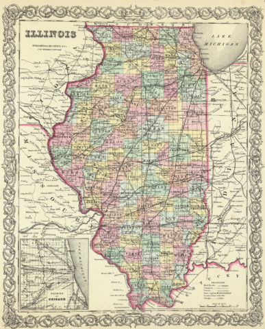 1856 State Map of Illinois with vicinity of Chicago