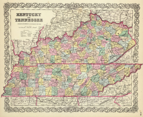 1856 Map of Kentucky And Tennessee