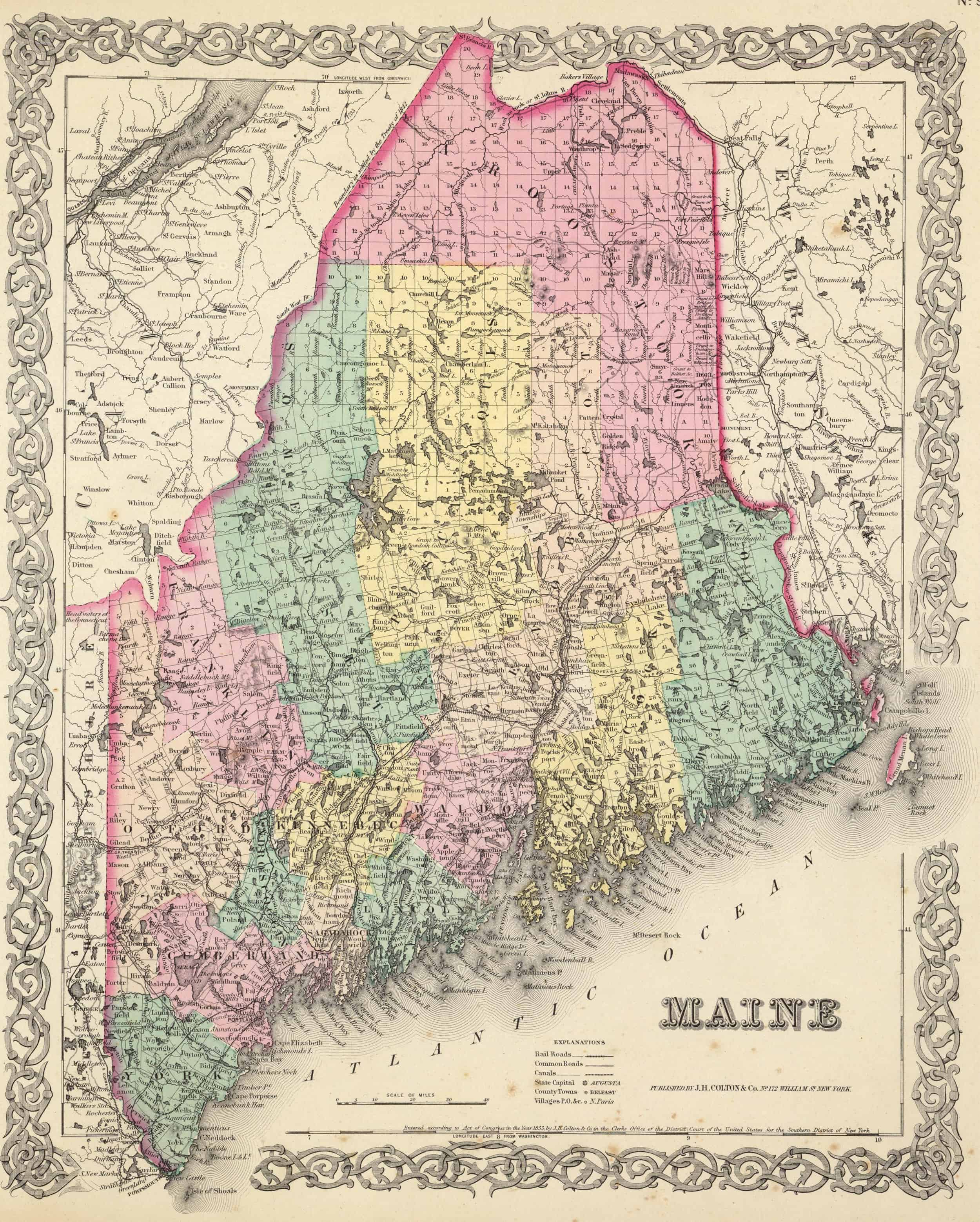 Old Historical City, County and State Maps of Maine