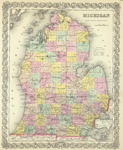 1856 State Map of Michigan