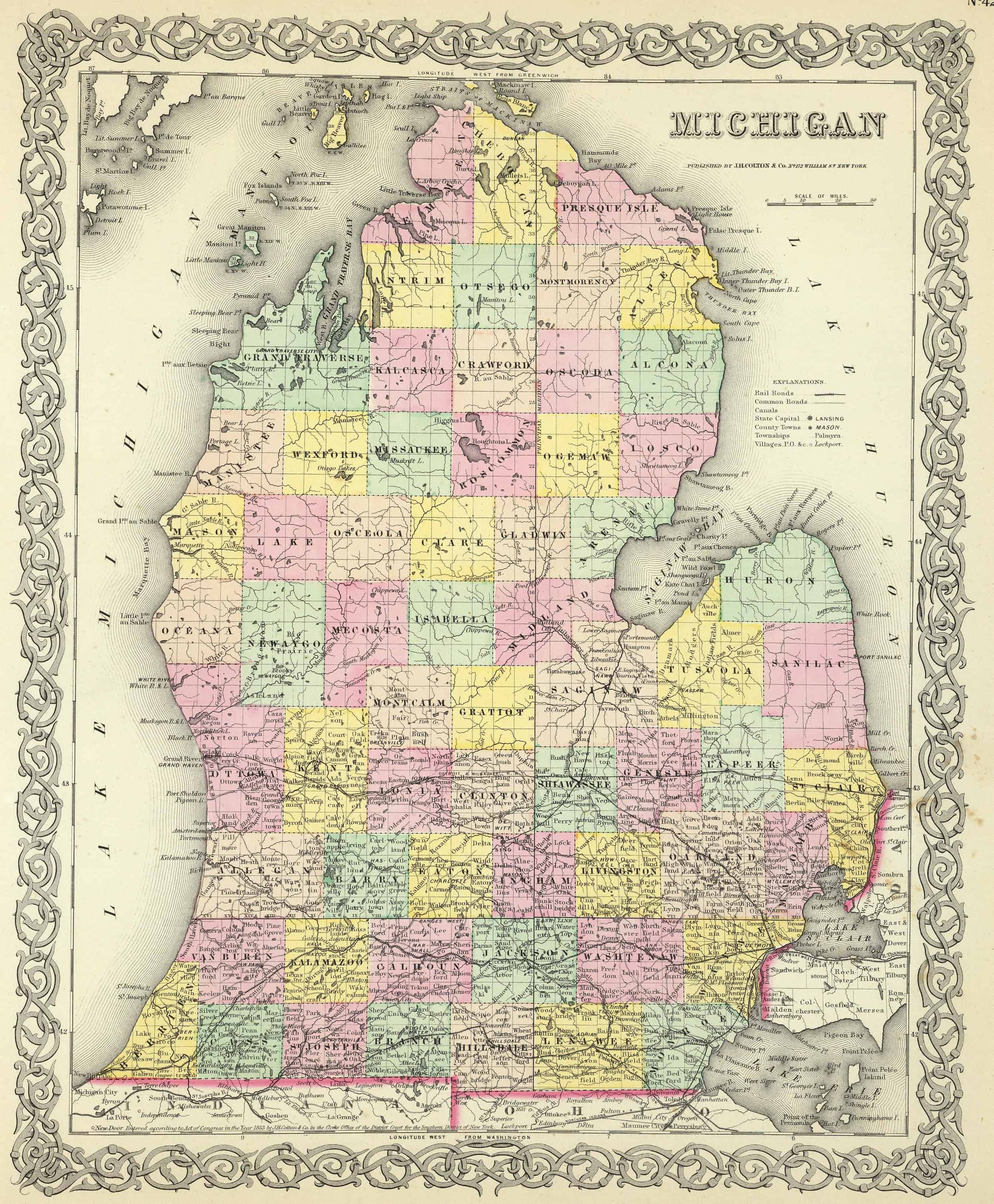 Old Historical City, County and State Maps of Michigan on erie county plat map, jackson county plat map, fulton county plat map, huron county plat map, okfuskee county plat map, saginaw county plat map, yellow medicine county plat map, kalkaska county plat map, lenawee county plat map, grant county plat map, cambria county plat map, somerset county plat map, union county plat map, gaines county plat map, lake county plat map, grand traverse county plat map, camden county plat map, ida county plat map, st clair county plat map, clayton county plat map,