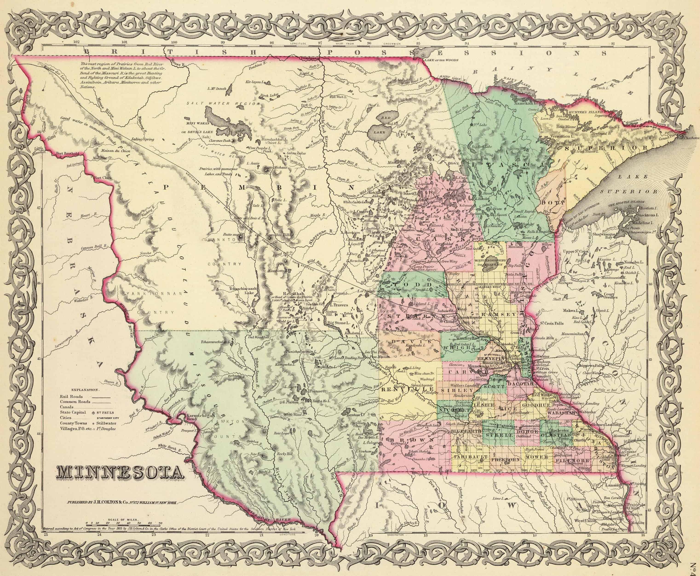 MINNESOTA VINTAGE MAP Minnes Vintage Map of Minnesota State Minnesota Print