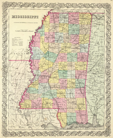 1856 State Map of Mississippi