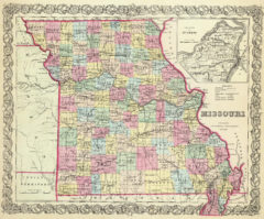 1856 State Map of Missouri with Vicinity of St Louis