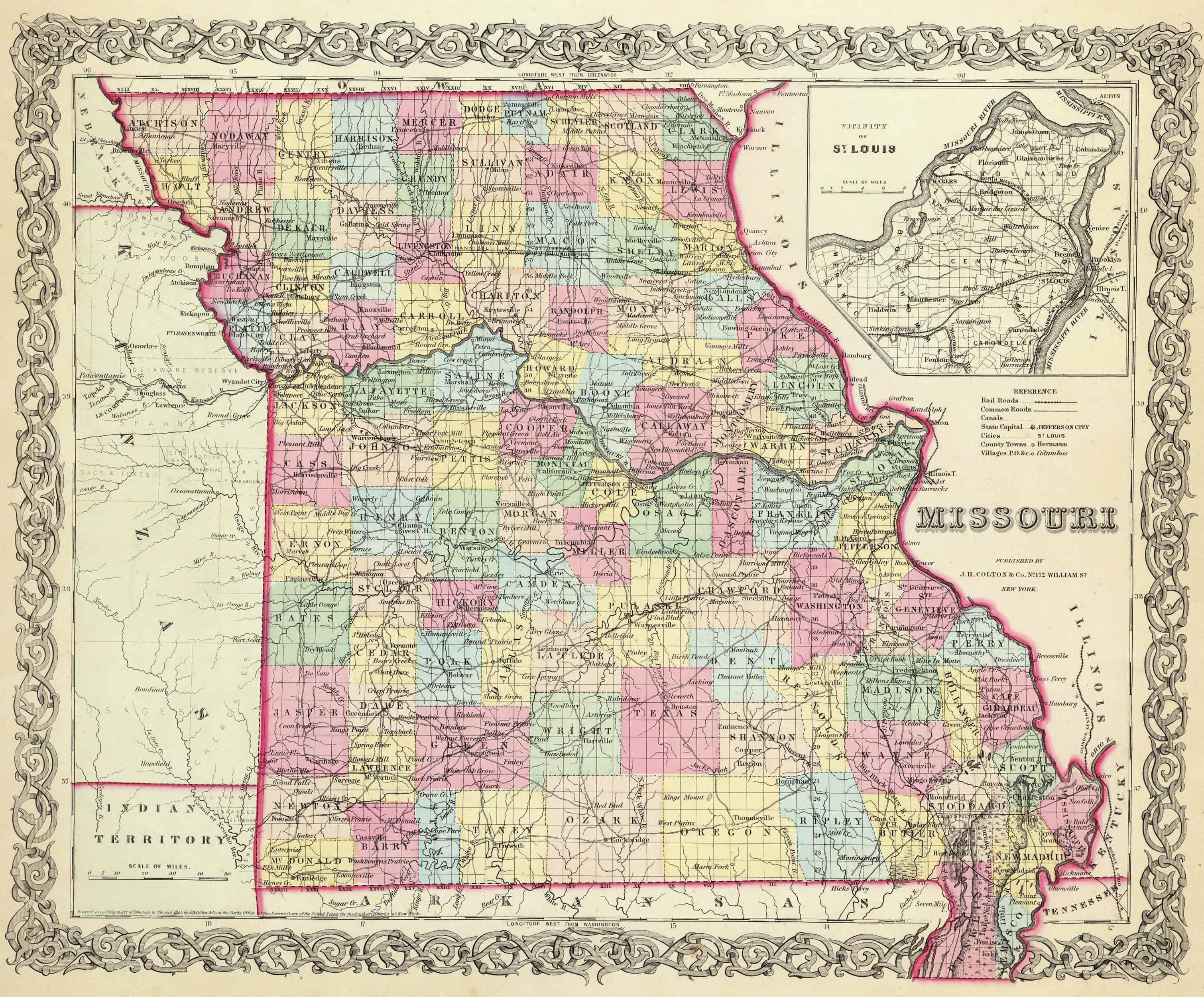 1855 MISSOURI MAP MO MERCER MILLER MISSISSIPPI MONITEAU MONROE MORGAN COUNTY big
