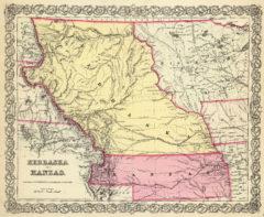 1856 Map of Nebraska and Kansas