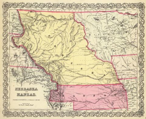 1856 Map of Kansas and Nebraska