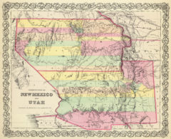 1856 State Map of Utah and New Mexico Territories