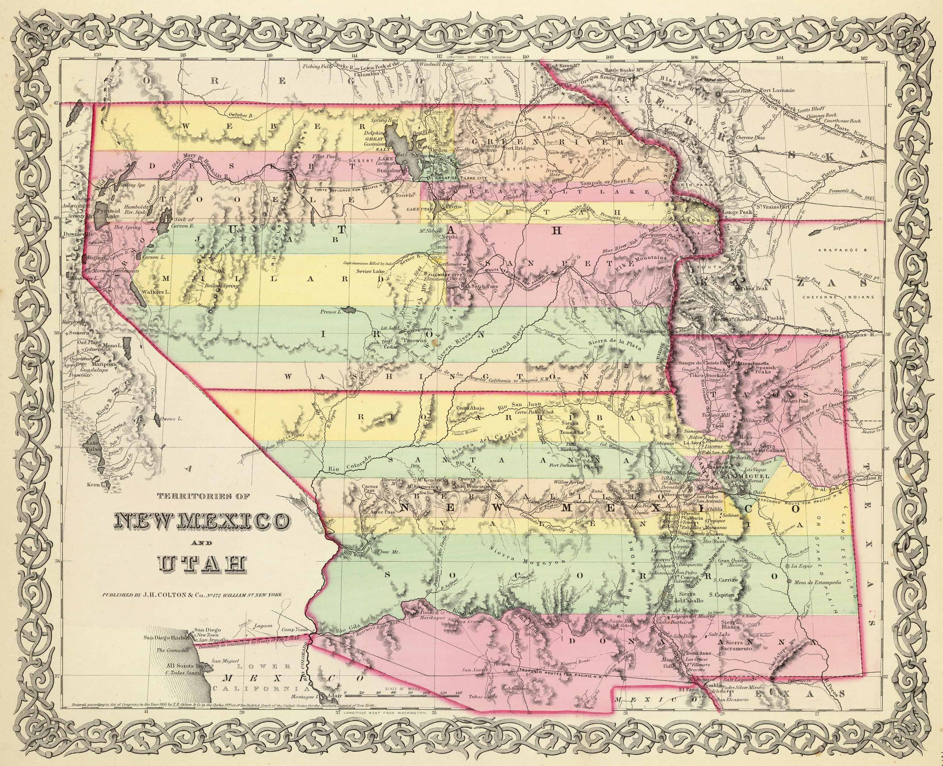 Old Historical City, County and State Maps of Utah