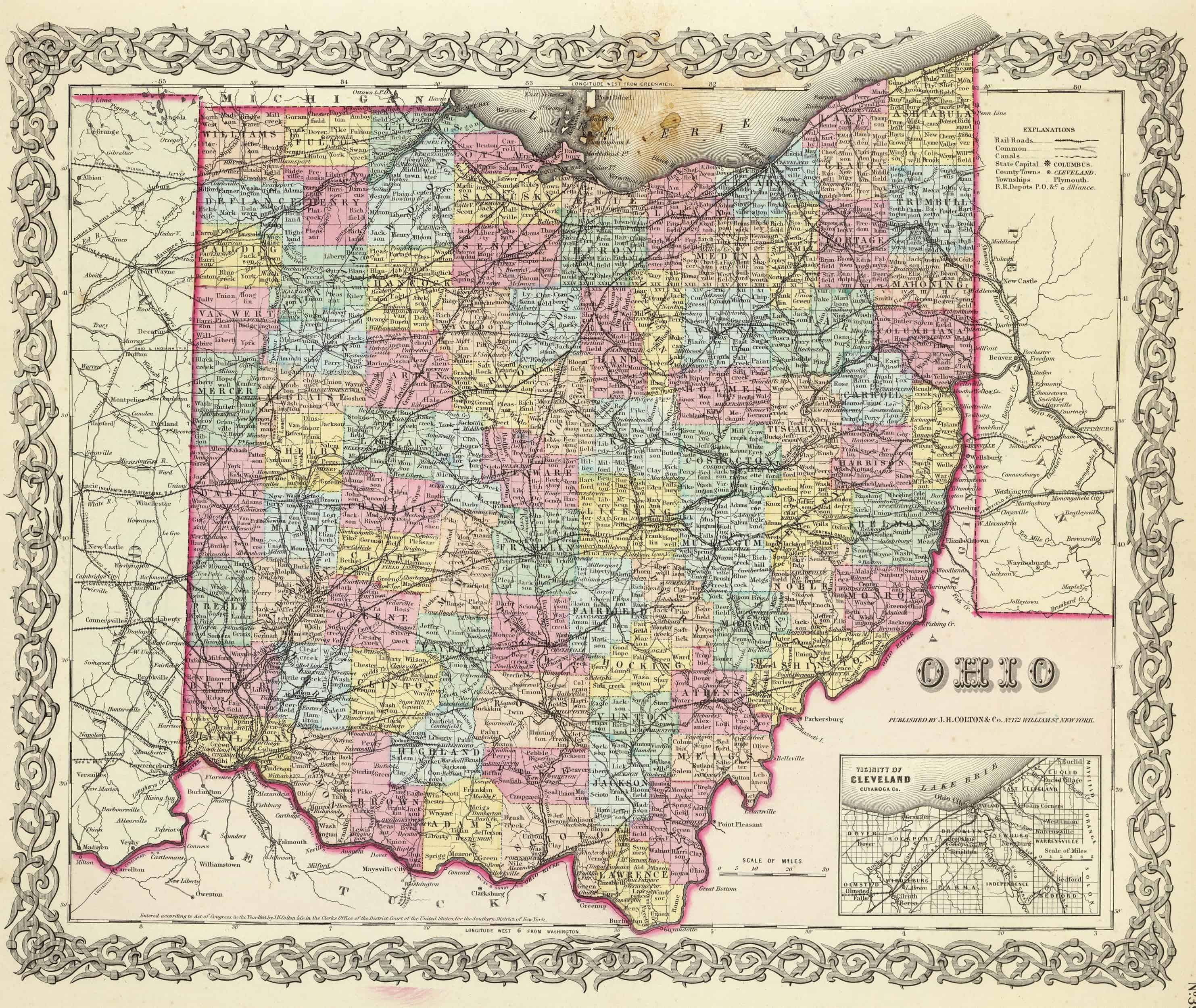 Old Historical City, County and State Maps of Ohio