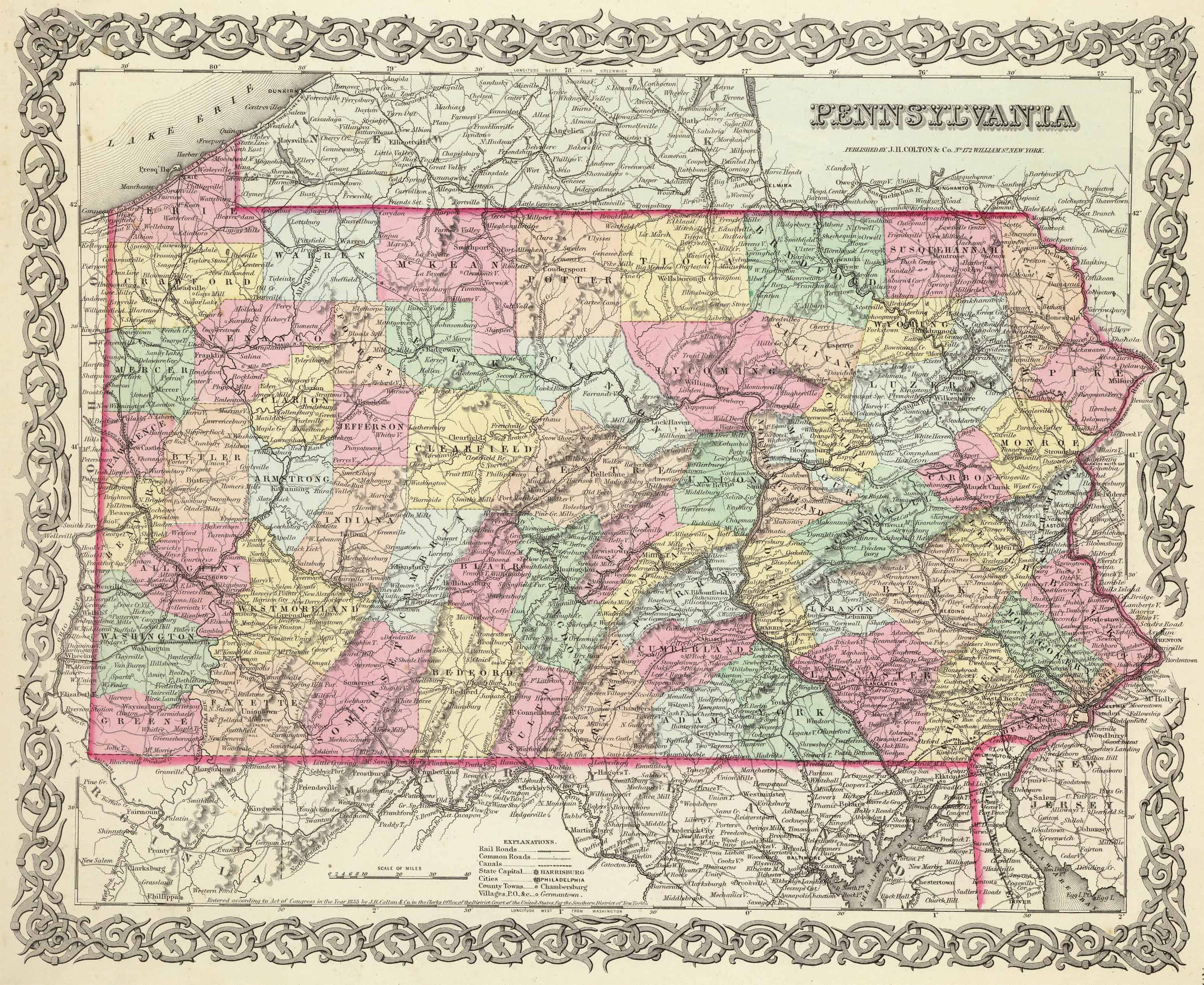 Old Historical City, County and State Maps of Pennsylvania ... on map of route 322 pennsylvania, map of pennsylvania with cities, map of southern pennsylvania, map of route 30 pennsylvania, map of route 78 pennsylvania, map of route 80 pennsylvania,
