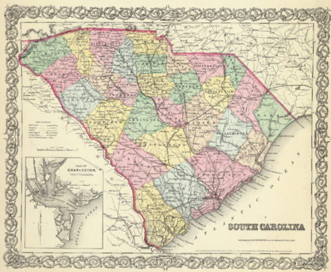 1856 Map of South Carolina with Plan of Charleston, Vicinity and Harbor