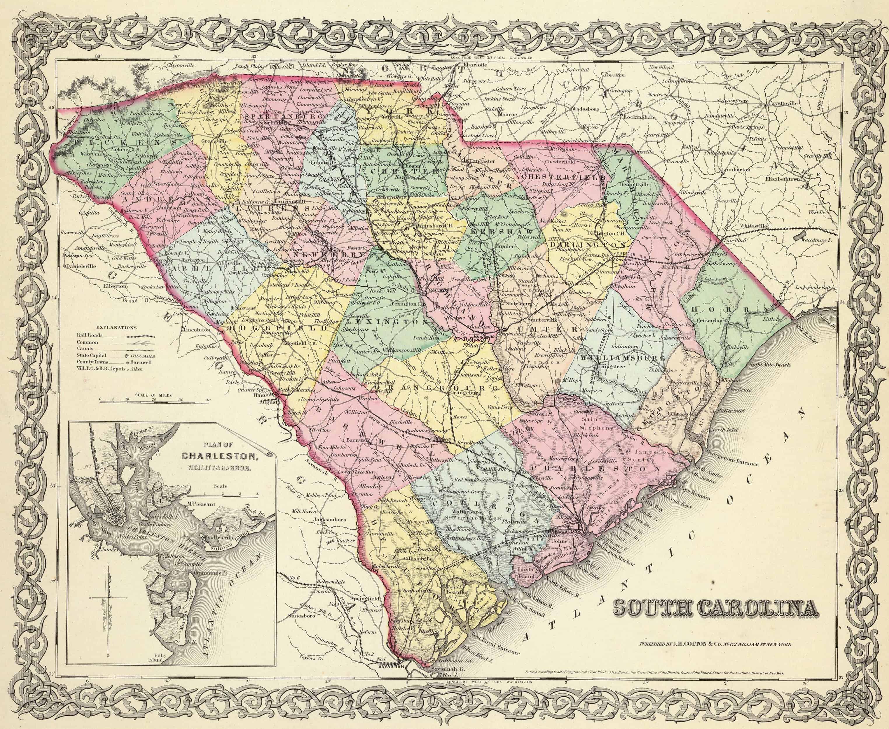 Old Historical City, County and State Maps of South Carolina on virgina map, quebec map, georgia map, arizona map, manitoba map, nova scotia map, guam map, n dakota map, munich s-bahn map, clemson map, north dakota map, ohio map, miami map, district of columbia map, minnesota map, conn map, iowa map, houston map, nc state map, central fl map,