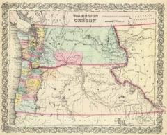 1856 State Map of Washington and Oregon