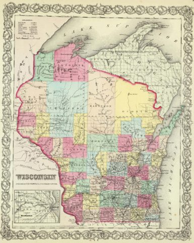 1856 State Map of Wisconsin with Vicinity of Milwaukee
