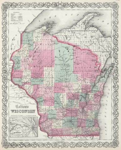 1865 State Map of Wisconsin