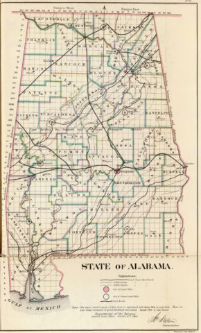 1866 State Map of Alabama Public Survey Sketches by the Department of Interior Land Office