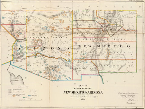 1866 Map of Arizona and New Mexico Public Survey Sketches by the Department of Interior Land Office