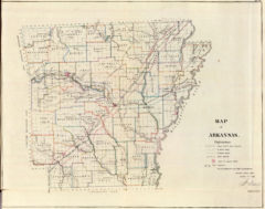 1866 State Map of Arkansas Public Survey Sketches by the Department of Interior Land Office