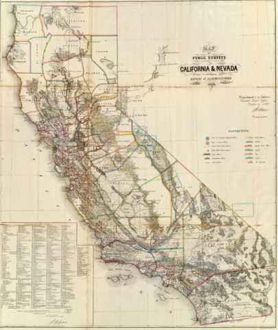 1866 Sketch of Public Surveys Map of California and Nevada by the Department of Interior Land Office