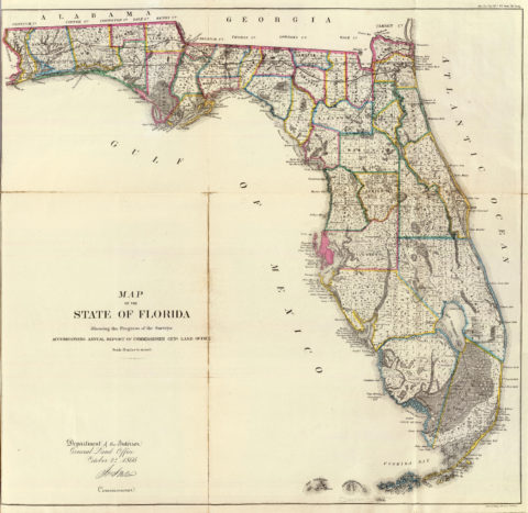 1866 Map of Florida Public Survey Sketches by the Department of Interior Land Office