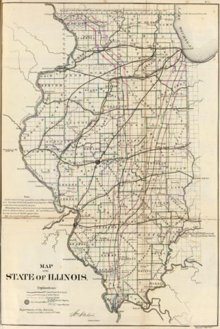 1866 State Map of Illinois Public Survey Sketches by the Department of Interior Land Office
