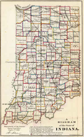 1866 Map of Indiana Public Survey Sketches by the Department of Interior Land Office