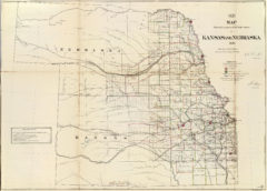 1866 State Map of Nebraska and Kansas Public Survey Sketches by the Department of Interior Land Office