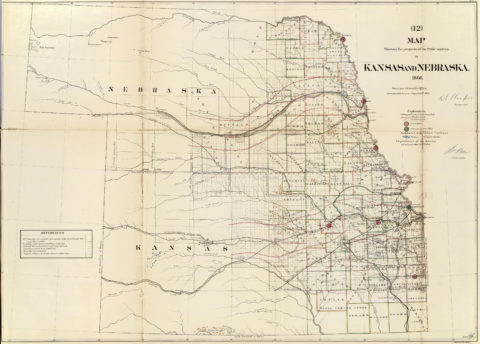 1866 Map of Kansas and Nebraska Public Survey Sketches by the Department of Interior Land Office