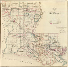 1866 State Map of Louisiana Public Survey Sketches by the Department of Interior Land Office