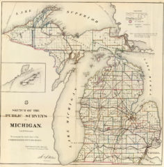 1866 State Map of Michigan Public Survey Sketches by the Department of Interior Land Office