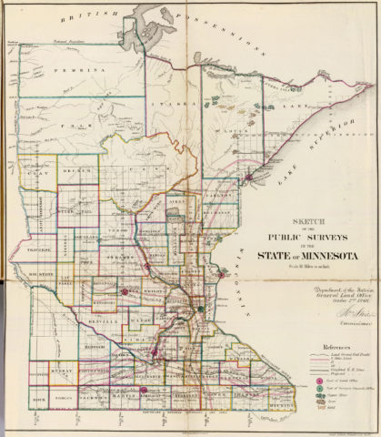 1866 State Map of Minnesota Public Survey Sketches by the Department of Interior Land Office