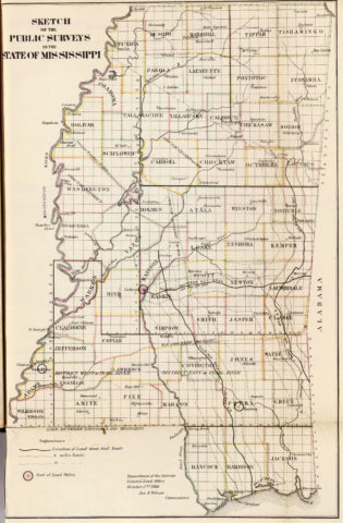 1866 State Map of Mississippi Public Survey Sketches by the Department of Interior Land Office