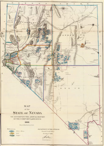 1866 State Map of Nevada Public Survey Sketches by the Department of Interior Land Office