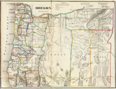 1866 State Map of Oregon Public Survey Sketches by the Department of Interior Land Office