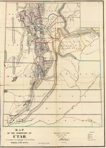1866 State Map of Utah Public Survey Sketches by the Department of Interior Land Office