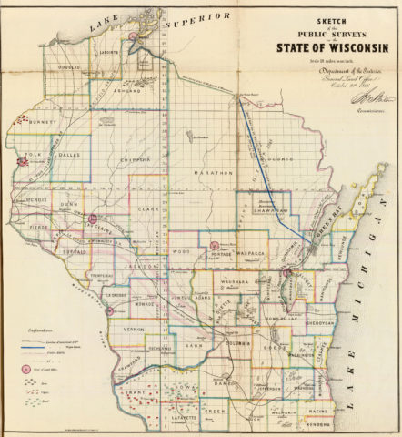 1866 Sketch of Public Surveys State Map of Wisconsin by the Department of Interior Land Office