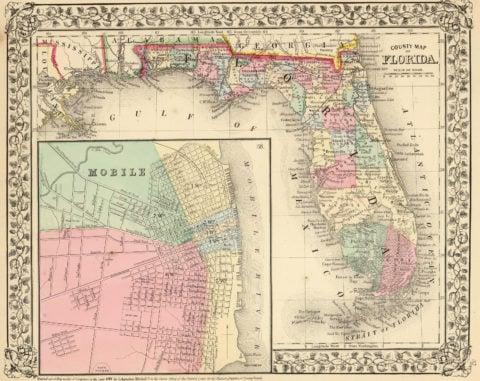 1870 Map of Florida